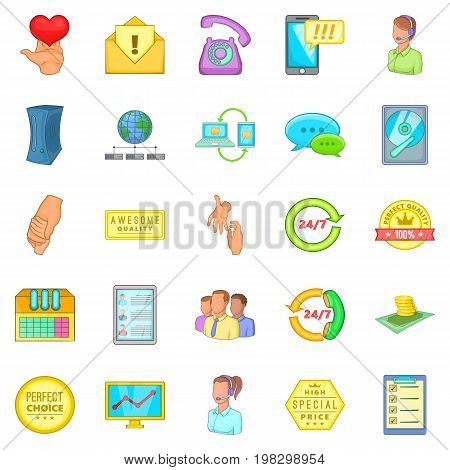 Client icons set. Cartoon set of 25 client vector icons for web isolated on white background