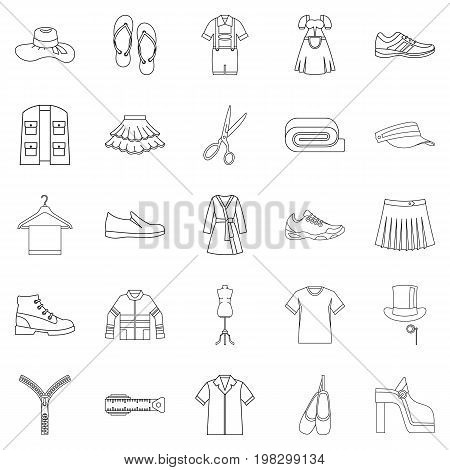 Stitching icons set. Outline set of 25 stitching vector icons for web isolated on white background