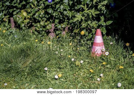 Discarded Traffic Cone In Long Grass