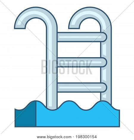 Pool with stairs icon. Cartoon illustration of pool with stairs vector icon for web design