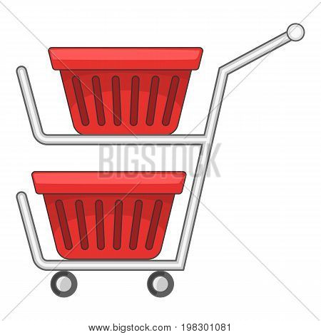 Double shopping cart icon. Cartoon illustration of double shopping cart vector icon for web design
