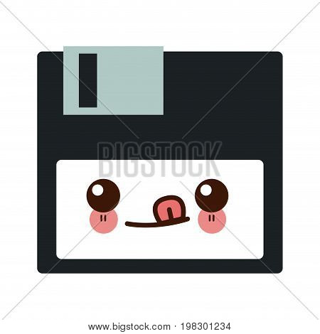 kawaii floppy disk data device storage vector illustration