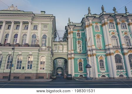 Hermitage building, view from embankment of Neva river, Sr. Petersburg, Russia