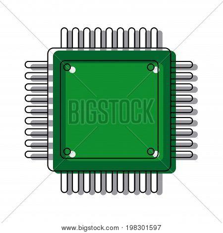 computer microchip circuit hardware element icon vector illustration,