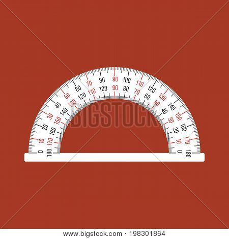 Semi circle ruler in real scale for measuring angle, flat design
