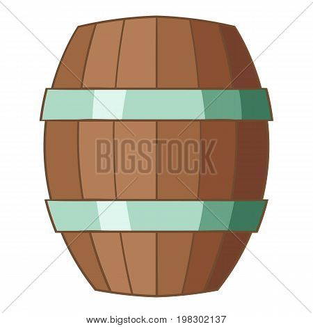 Wooden barrel icon. Cartoon illustration of wooden barrel vector icon for web design