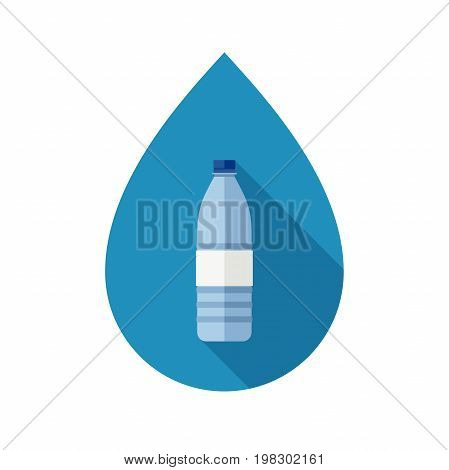 Bottle for water with long shadow. Flat icon of plastic transparent bottles on background of drop shape.