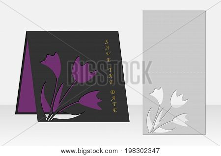 Card with floral pattern for laser cutting. Silhouette design. It is possible to use for birthday invitations, presentations, greetings, holidays, celebrations, save the day wedding. Vector illustration.