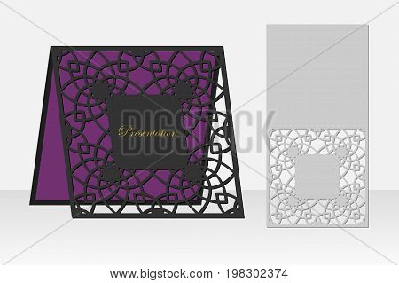 Card with a repeating geometric pattern for laser cutting. Silhouette design. It is possible to use for birthday invitations, presentations, greetings, holidays, celebrations, save the day wedding. Vector illustration.