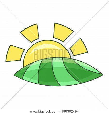 Morning sunrise icon. Cartoon illustration of morning sunrise vector icon for web design