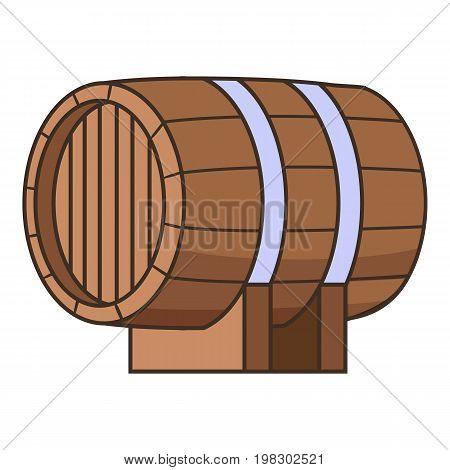 Horizontal wooden barrel icon. Cartoon illustration of horizontal wooden barrel vector icon for web design
