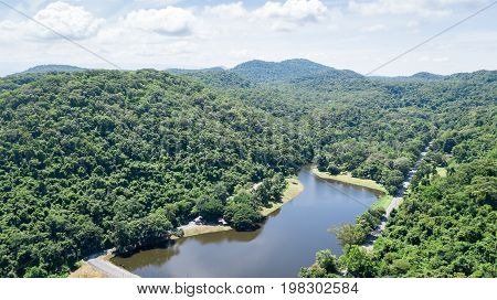 Aerial Picture From Drone: Tropical Forest With Reservoir