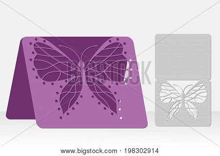 Butterfly greeting card laser cutting. Silhouette design. It is possible to use for weddings, Valentines, birthday, invitations, presentations, greetings, holidays, celebrations, save the day. Vector illustration.