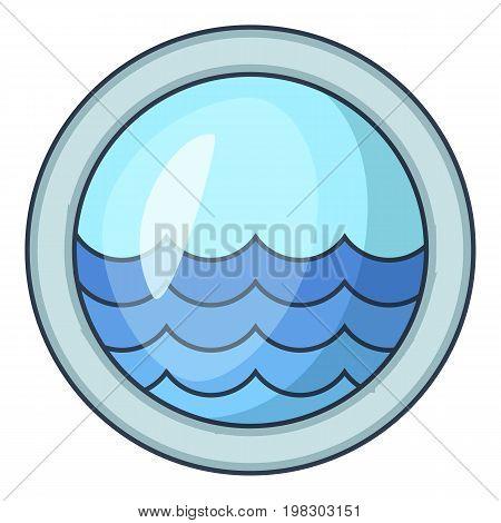 Porthole window of sailing ships icon. Cartoon illustration of porthole window of sailing ships vector icon for web design