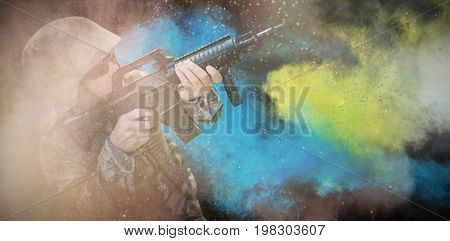 black against military aiming his rifle
