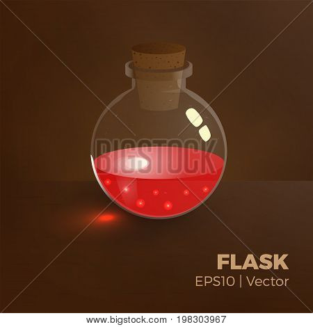 Bottle of blood, health elixir. Vector illustration of tranparent flask with red liquid. Game vial icon, interface for rpg game. Easy to change color. Realistic.