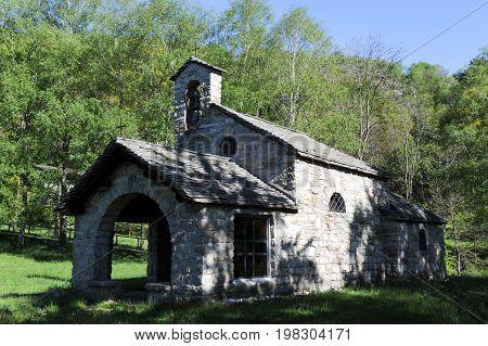 Gola di Lago Switzerland - 15 may 2016: rural church of Gola di Lago on the italian part of Switzerland