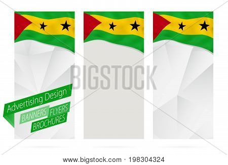 Design Of Banners, Flyers, Brochures With Flag Of Sao Tome And Principe.