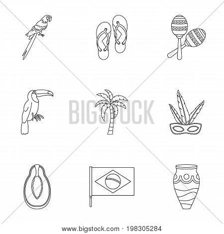 Symbols of Brasil icon set. Outline style set of 9 brazilan symbols vector icons for web isolated on white background