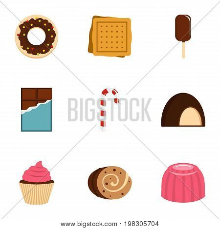 Sweet desserts icon set. Flat style set of 9 sweet vector icons for web isolated on white background