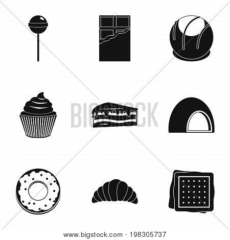 Sweets icon set. Simple style set of 9 sweet vector icons for web isolated on white background