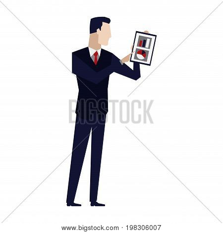 businessman holding a clipboard and analysing the data financial vector illustration