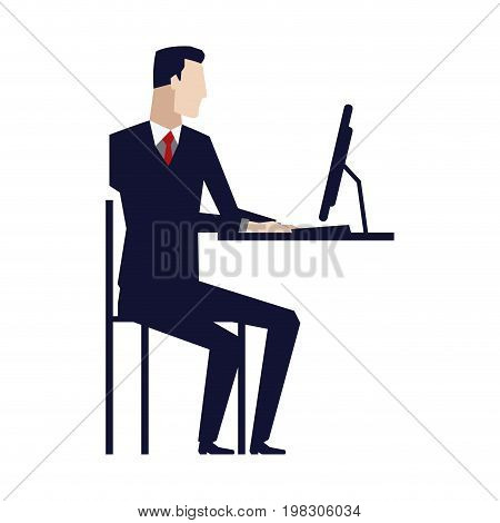 business man entrepreneur in a suit working on a laptop computer at his office desk vector illustration