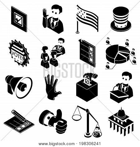 Election voting icons set. Simple illustration of 16 election voting icons set vector icons for web