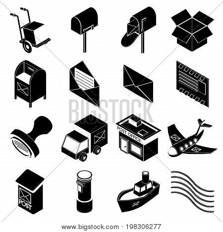 Poste service icons set. Simple illustration of 16 poste service icons set vector icons for web
