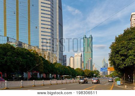 SHENZHEN, CHINA - MAY 28, 2014: Shenzhen urban landscape at daytime. Shenzhen is a major city in Guangdong Province and one of the four largest and wealthiest cities of China.