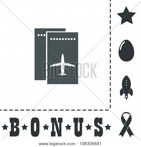 Airline ticket. Simple flat symbol icon on white background. Vector illustration pictogram and bonus icons