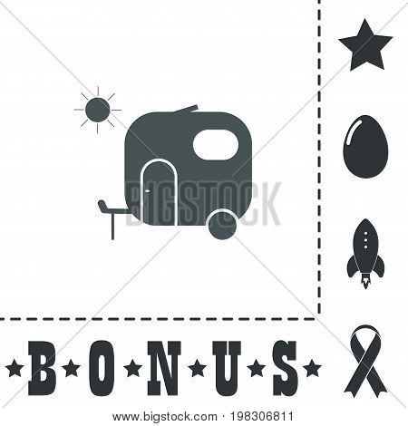 Travel trailer. Simple flat symbol icon on white background. Vector illustration pictogram and bonus icons