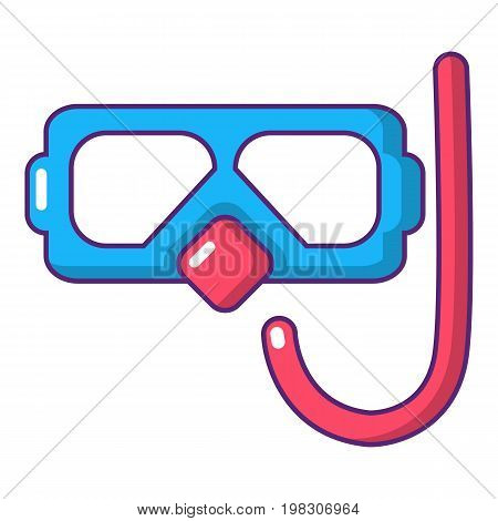 Diving mask and snorkel icon. Cartoon illustration of diving mask and snorkel vector icon for web design