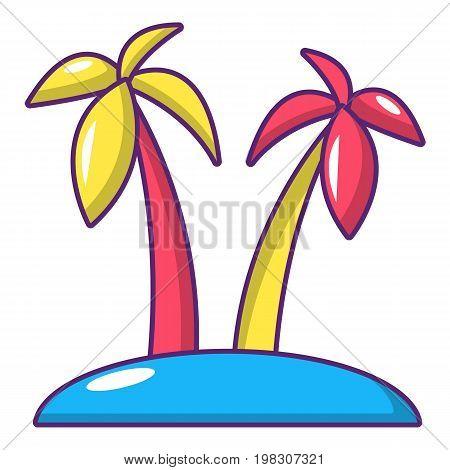 Tropical island icon. Cartoon illustration of tropical island vector icon for web design