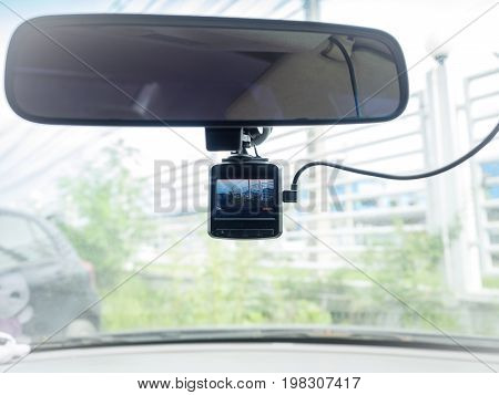 Camera was installed inside car for real time records