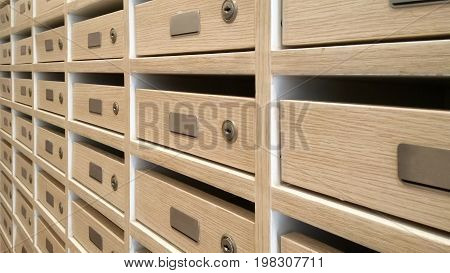 Wooden post office boxes as texture and background