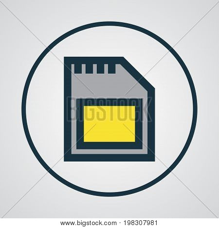 Premium Quality Isolated Memory Element In Trendy Style.  Sd Card Colorful Outline Symbol.