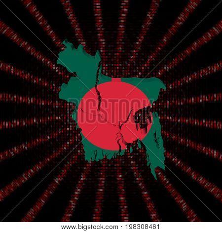 Bangladesh map flag on red hex code burst 3d illustration