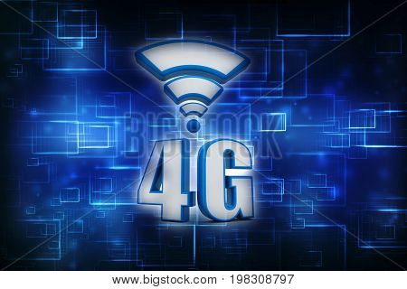 Mobile telecommunication cellular high speed data connection business concept: blue metallic 4G LTE wireless communication technology logo, symbol, icon or button isolated on white background