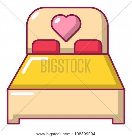 Wedding couple bed icon. Cartoon illustration of wedding couple bed vector icon for web design