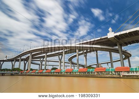 Highway Bhumibhol bridge across Chaopraya river of Bangkok Thailand in sunny day famous public landmark of Thailand