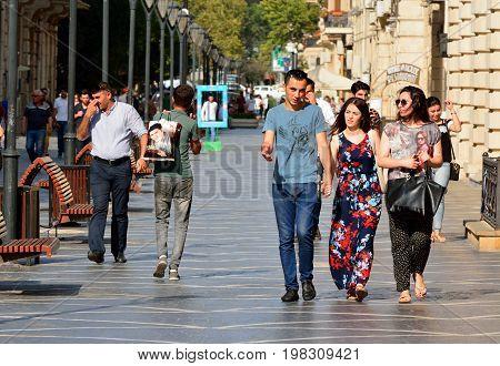 Baku, Azerbaijan - July 23, 2017.   View of Nizami street in Baku, with people.