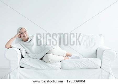 Breast Cancer Survivor On Couch