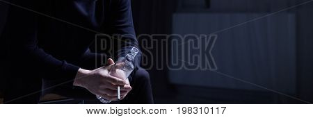 Man With Cigarette And Vodka