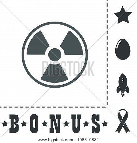 Radiation Simple flat symbol icon on white background. Vector illustration pictogram and bonus icons poster