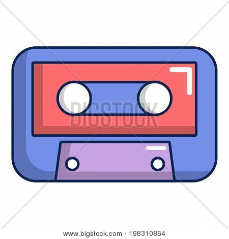 Cassete tape icon. Cartoon illustration of cassete tape vector icon for web design