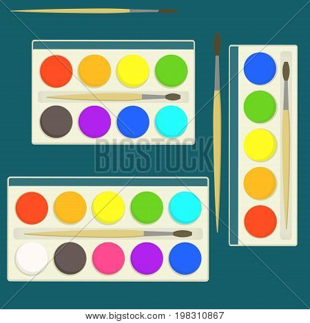 Set of bright flat vector kids watercolor paints in box for drawing lessons with different colors palette. Artistic school symbol with colorful watercolour box with paint brush