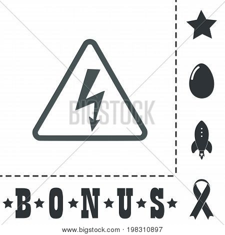 High voltage Simple flat symbol icon on white background. Vector illustration pictogram and bonus icons