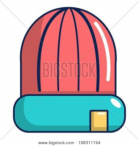Winter hat cap icon. Cartoon illustration of winter hat cap vector icon for web design
