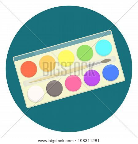 Flat vector kids watercolor paints in box for drawing lessons. Artistic school symbol with colorful watercolour box with paint brush